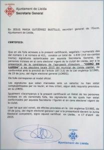 Certificat emès avui on el secretari de la Paeria confirma que el Comú porta 1.630 avals recollits