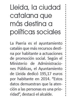 Lleida, la que mas destina a politicas sociales