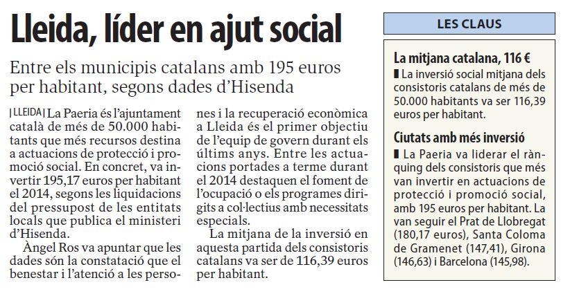 Lleida lider en ajut social