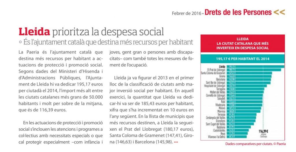 Revista La Paeria del mes de febrer