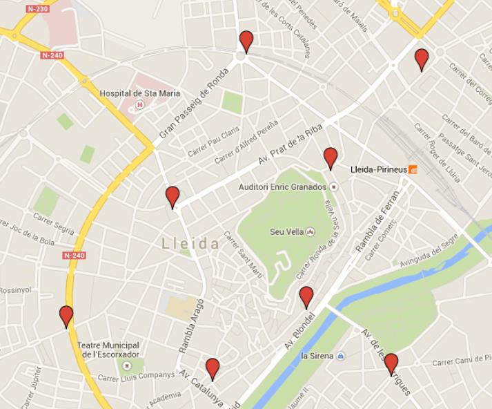 Mapa dels punts de votació Lleida centre